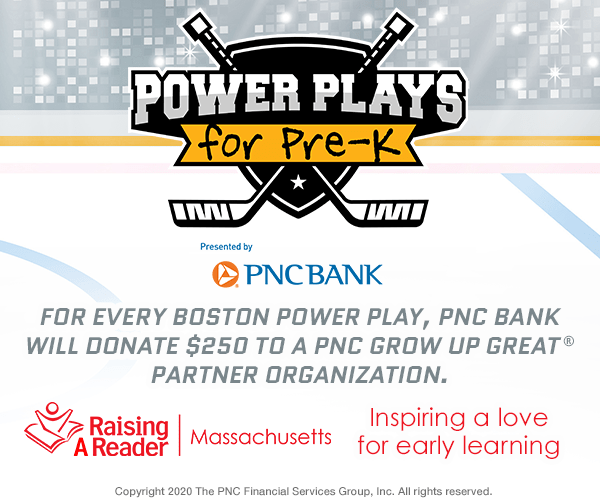 Raising A Reader MA is proud to partner with our friends at PNC Bank, the Boston Bruins, and 98.5 The Sports Hub for Power Plays for Pre-K.